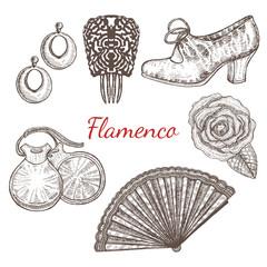 vector set of flamenco accessories