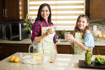 Drinking lemonade together at home