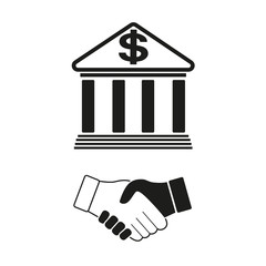 Bank handshake on a white background