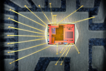 Extreme close up of silicon micro chip