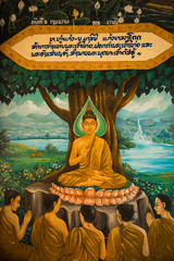 Paintings on the walls of a Buddhist temple in Laos