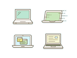 Laptop icon set. Clean and simple icons. Vector illustration.