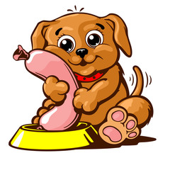 Puppy domestic pet vector illustration