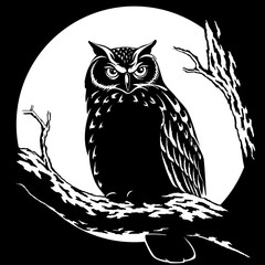 Owl at night on a background of the moon vector illustration