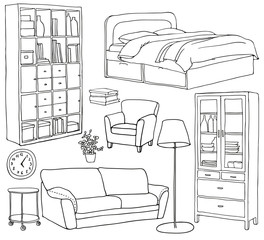 Vector set of modern furniture objects, drawn with black pen. Bookshelf, sofa, bed, armchair, cupboard, lamp.