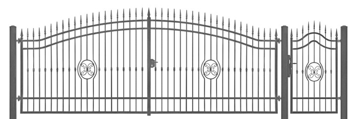 Forged decorative pedestrian and transportation mansion gate vintage entrance detail, isolated horizontal large detailed dark grey silhouette closeup, wrought iron fleur-de-lis lattice