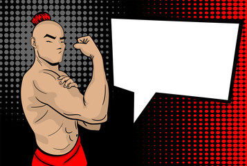 Shaolin master in pose We can do it. Hand drawn pop art strong man body. Black halftone back vector illustration. Retro cartoon buddhist character. Sport comic text empty speech babble. Male power.