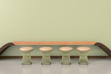 Bar stool and table in waiting room. 3D Rendering