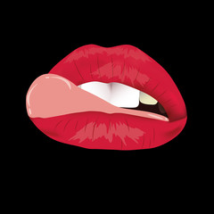 The woman's lips with tongue. Lush lips like a kiss with tongue. Red and pouting, On a black background. Erotica, sex, temptation.