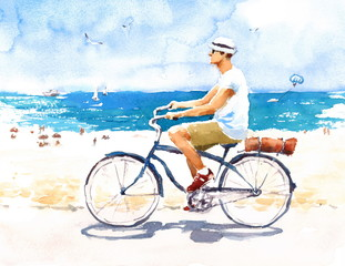 Man On Bike Summer Beach Scene Watercolor Illustration Hand Painted