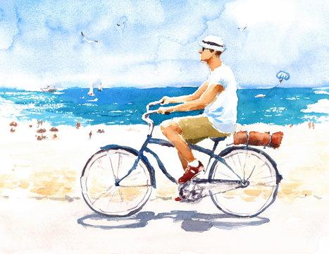 Man On Bike Summer Beach Scene Watercolor Illustration Hand Painted