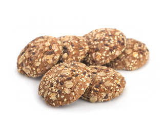 Oat Dietary Cookies On White Background