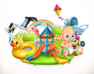 Kids and toys. Children playground 3d vector illustration