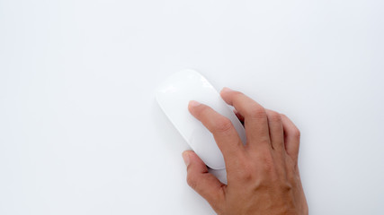 Wall Mural - hand with mouse on white background