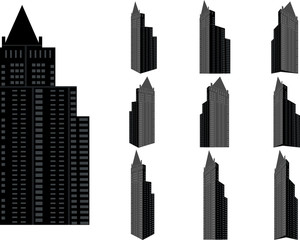 Tower building vector set. Collection of city and landscape.Building with many views