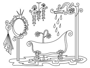Vector silhouette of hand drawn classy bathroom with chandelier, mirror, bath and shower in black color on white background, isolated cartoon furniture room painted illustration, high quality