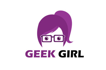 Geek Girl Logo Illustration Design