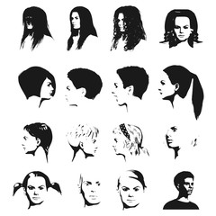 Collection of woman silhouettes with different hair styles.