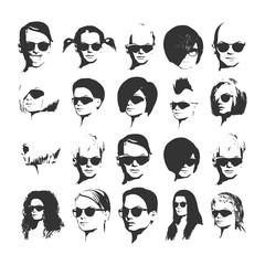 Big vector set of different women app icons in sunglasses in flat style. Female faces or heads images.
