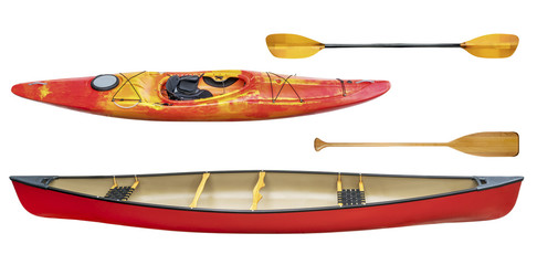 kayak, canoe and paddles isolated