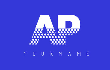 AP A P Dotted Letter Logo Design with Blue Background.