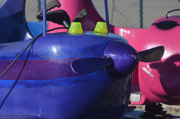 Empty carnival ride at amusement park fairground