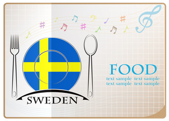 Food logo made from the flag of Sweden