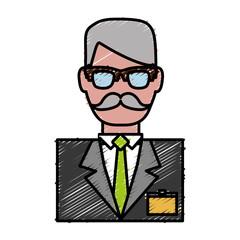 hotel receptionist man icon over white background colorful design vector illustration