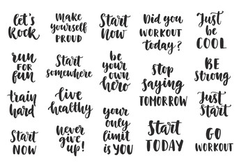 Set of Sport inspirational quotes on white background