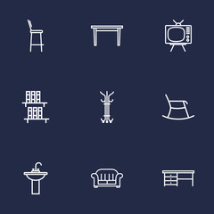 Set Of 9 Decor Outline Icons Set.Collection Of Bookshelf, Tv Set, Armchair And Other Elements.