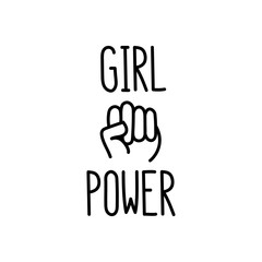 "The quote ""girl power"" with image clenched fist. It can be used for website design, article, poster, sticker, patch etc. Vector Image."
