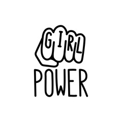 "The quote ""girl power"" with image female clenched fist. It can be used for website design, article, poster, sticker, patch, etc. Vector Image."