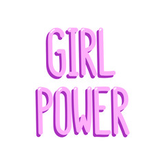 "The pink inscription ""Girl power"" on a white background. It can be used for website design, article, phone case, poster, t-shirt,etc. Vector Image."