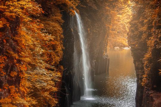 Takachiho gorge autumn season at Miyazaki , Japan
