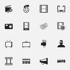 Set Of 16 Editable Movie Icons. Includes Symbols Such As Photography, Loudspeaker, Reel And More. Can Be Used For Web, Mobile, UI And Infographic Design.
