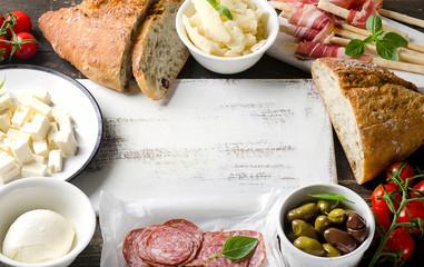 Various types of italian food.