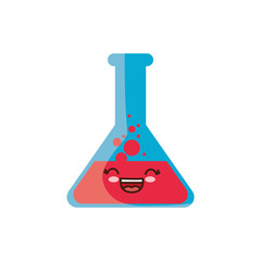 kawaii chemical flask icon over white background vector illustration