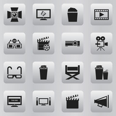 Set Of 16 Editable Movie Icons. Includes Symbols Such As Projector, Display, Popcorn And More. Can Be Used For Web, Mobile, UI And Infographic Design.