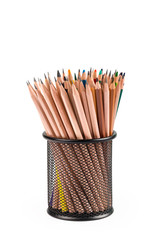 various pencils in metal grid container