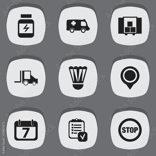 Set Of 9 Editable Mixed Icons Includes Symbols Such As Stop