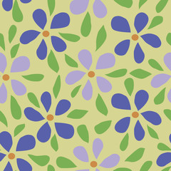 Floral pattern with small flowers and leaves. Simple, cute background for printing on fabric, textiles, Wallpaper. Seamless vector illustration. Vintage retro style. Miles Fleur, liberty ornament.