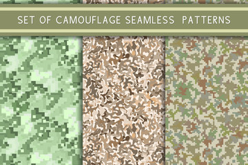 Set of camouflage seamless patterns