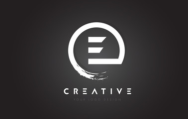 E Circular Letter Logo with Circle Brush Design and Black Background.