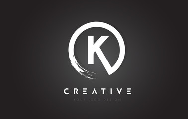 K Circular Letter Logo with Circle Brush Design and Black Background.