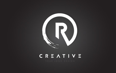 R Circular Letter Logo with Circle Brush Design and Black Background.