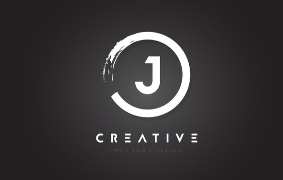 J Circular Letter Logo with Circle Brush Design and Black Background.