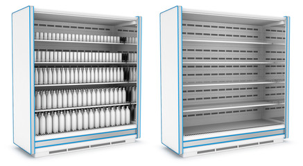 Vertical refrigerator for supermarket. Empty and with bottles and jars. Set of 3d images isolated on white.