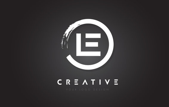 LE Circular Letter Logo with Circle Brush Design and Black Background.