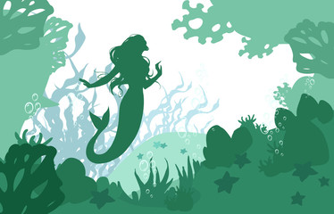 Beautiful cartoon flat illustration of a sea floor with mermaids, corals and seaweed