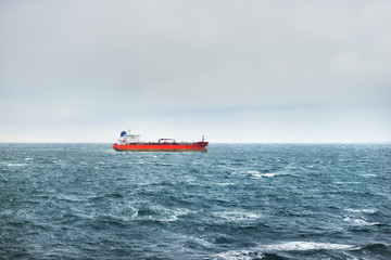 Oil tanker on a windy day in the Baltic sea